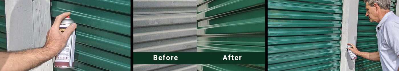 Clear gloss aerosol to restore color and shine to self-storage doors.